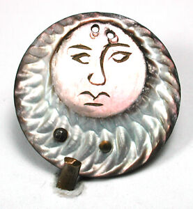 Antique Carved Shell Buckle Pretty Celestial Face Design  1""