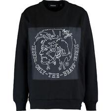 DIESEL  Black Patch Front Jersey Sweater Size UK L