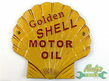 Cast Iron Shell Shaped GOLDEN SHELL MOTOR OIL Sign Wall Plaque Yellow Red YSHGO