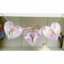 Unicorn personalised name letter wooden heart bunting gift. Price per heart.