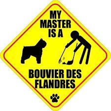 """My Master Is A Bouvier Des Flandres 4"""" Dog Poop Sticker"""