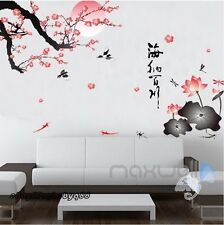 Sunrise Plum Blossom Tree Bird Lotus Wall Sticker Removable Decal Home Decor Art