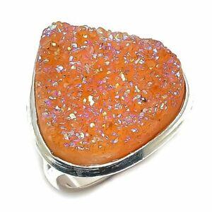 Orange Titanium Druzy Gemstone  Silver Plated  Style Jewelry Ring Size 9 s qqq50