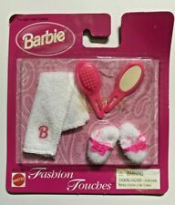 NEW RARE Vintage Barbie Fashion Touches Accessories Towel Slippers Brush Mirror