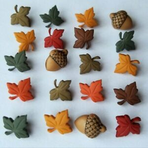 FALL MEDLEY Tiny Leaves Acorn Forest Wood Leaf Autumn Dress It Up Craft Buttons
