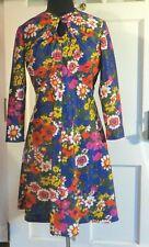 1970's Dress Brief Originals Floral 3/4 Sleeves Fit & Flair M? Read measurements