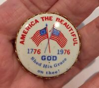 BIG VINTAGE PATRIOTIC RED WHITE & BLUE ENAMEL BUTTON WITH AMERICAN FLAGS