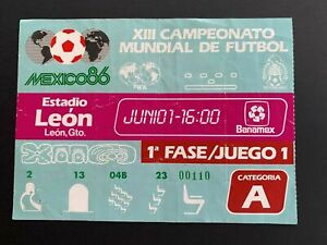 1986 Mexico World Cup Canada vs France Original Ticket/Program *(rare pop 1)
