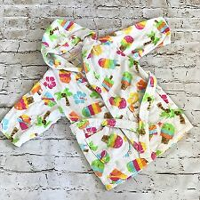 St. Eve Swim Girls Hooded Terry Cloth Robe Cover All Ice Cream Palm Trees XS 3/4