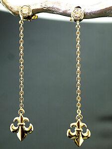 333 Gold Ohrringe Lilien als Ohrstecker 38,0 mm Länge mit Zirkonia 1 Paar