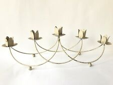 Candle Holder Shabby Cottage Candelabra Off White Vtg Centerpiece Chippy Metal
