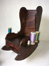 Vintage Wooden Rocking Chair SEWING CADDY Thread Notion Drawer