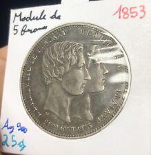 Module De 5 Francs 1853 Leopold I Mariage Du Duc Du Brabant En Argent - SUP