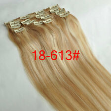 """Clip in Remy Human Hair Extensions Straight 15''18''20''22""""24''28'' Any Colors"""