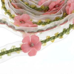 2Yd Bowknot Lace Motif Sewing Flower Applique Ribbon Trimmings for Dress12mm