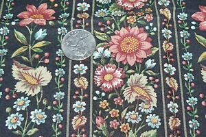 Concord Fabrics Stripes of Floral Print on Black Cotton Quilt Sewing Fabric 1 yd