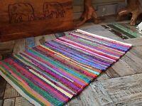❤️ Plain Bright Multi Colour Rag Rug 60cm x 90cm Small Flat Weave Chindi Mat
