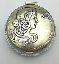 WMF Art Nouveau Trinket Jewellery box. Cut Crystal base, Lady design. Antique