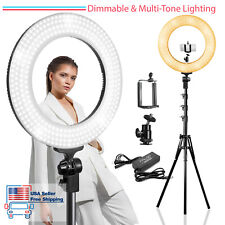 "14"" LED Round Ring Light, Dimmable Dual Colored, Photo Studio Stand Lighting Kit"