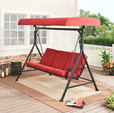 Porch Swing With Canopy Swinging Bench 3-Person Seat Red Patio Garden Backyard