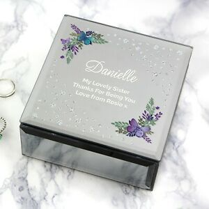 Personalised Butterfly Diamante Glass Trinket Box Mother's Day Gift for Her Bday