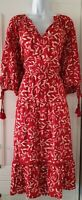 Womens MONSOON Red Tassel Tiered Boho Hippie Ethnic Woodblock Midi Dress L New.