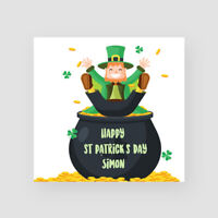 Personalised Handmade St Patrick's Day Card - Him/Her, Leprechaun, Pot of Gold