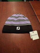 Footjoy Winter Beanie Hat. One Size. Black/Purple/White. NEW With Tags.