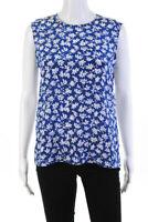 Diane Von Furstenberg Womens Floral Sleeveless Blouse Blue Silk Size Medium