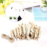 50Pcs Unfinished Feather Shape Wood Piece Laser Cut Out Woodcrafts DIY with Rope