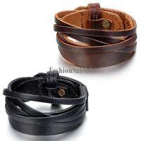 Multilayer Genuine Leather Alloy Unisex Adjustable Bracelet Wristband Bangle