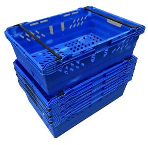 USED 5 x 38 Ltr BLUE Stack Nest Bale Arm Plastic Storage Boxes Containers Crates