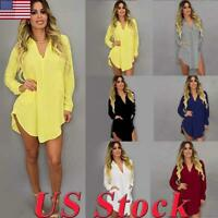 Women V-neck Long Sleeve Loose Shirt Collar Shirt Dress Skirt Top Blouse Dresses