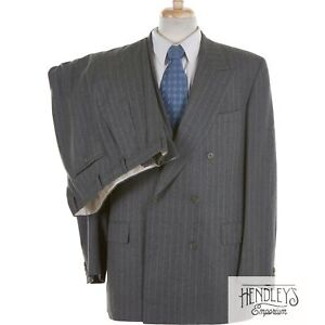 CHESTER BARRIE Double-Breasted Suit 44L Ash Gray Chalk Stripe Wool Flannel