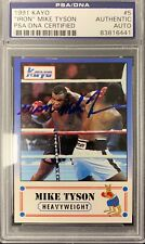 Mike Tyson Signed Card 1991 Kayo #5 w Iron inscription Autograph PSA/DNA Boxing