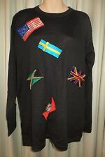 VINTAGE 80'S  ~ SUZELLE ~ Black/Flags Tunic JUMPER * Size 18 * REDUCED !!