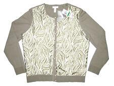 Charter Club PL Green White Tiger Stripe Cardigan Sweater LP Petite Cotton