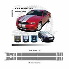 Ford Mustang 2010 to 2012 with Lip Spoiler Silver Met Ralley Stripes Graphic Kit