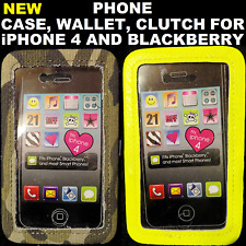 (2) Phone Cases/Wallets/Clutches For iPhone 4, Blackberry, Neon Yellow, Camo