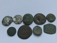 More details for lot of 9 mixed silver and bronze coins. roman and ottoman empire