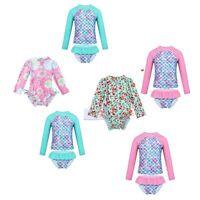 Girls Long Sleeves Swimsuit Tanklini Swimwear Rushguard Beachwear Bathing Suit