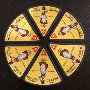 6 ORIGINAL VINTAGE SWISS TRIANGULAR CHEESE LABELS - MILKMAID - LA LAITIERE
