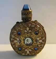 "Vintage 2.5"" Gold Mesh Clad PERFUME BOTTLE JEWELED STOPPER Blue Rhinestone Trim"
