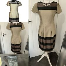 LK Bennett Dr Accalia Gold Black Multi Satin BNWT Dress Sz 10 £295 Evening