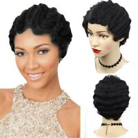 Afro Short Curly Hair Kinky Full Wigs Pixie Cut Synthetic Wig for Black Women x