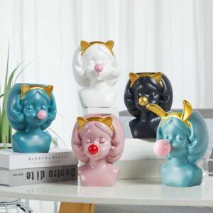Nordic Style Resin Vase Cute Girl Bubble Gum Figurine Decorative Succulent Plant
