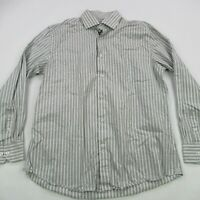 Bugatchi Uomo Mens Button Front Casual Shirt Long Sleeve Stripes Gray 17 34/35