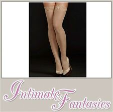 Sexy Lace Top Bamboo Hold Up Stockings Silicon Nude Ups Regular Size 8 10 12 14