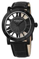 Stuhrling 881 Men's Stainless Steel Black PVD Gray Spoke Dial Swiss Quartz Watch