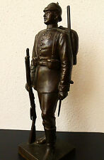 Antike Bronze Figur 32 cm Deutsches Reich Soldat 1898 C.Rakenins & Co Berlin
